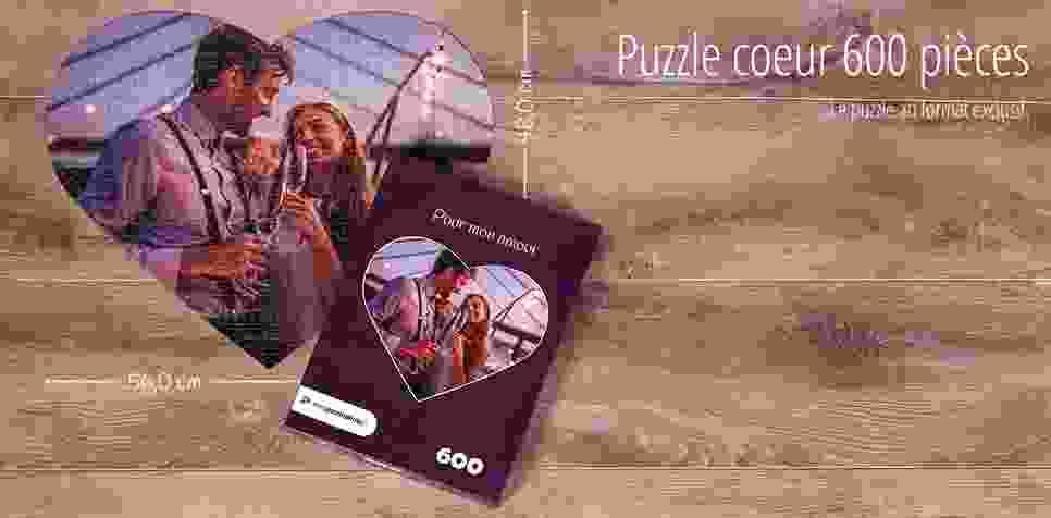 Puzzle cœur avec 600 pièces