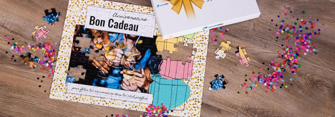 Bon cadeau sur puzzle pour un anniversaire