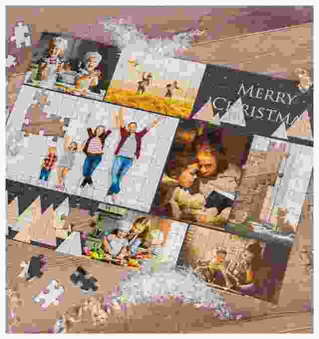 Idée cadeau de Noël puzzle photo pêle-mêle